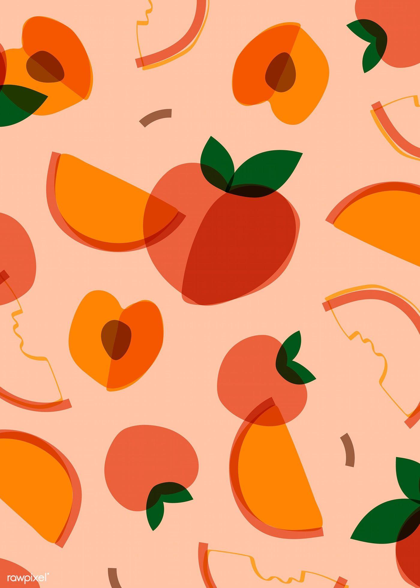 Download Premium Vector Of Tropical Peach Fruit Pattern Vector 845273 Fruit Illustration Fruit Pattern Peach Art