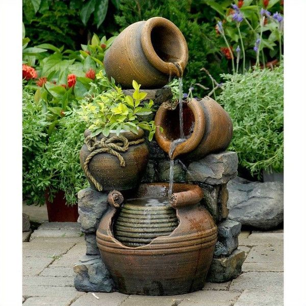 Jeco Multi Pots Outdoor Water Fountain With Flower Pot ($150) ❤ Liked On  Polyvore