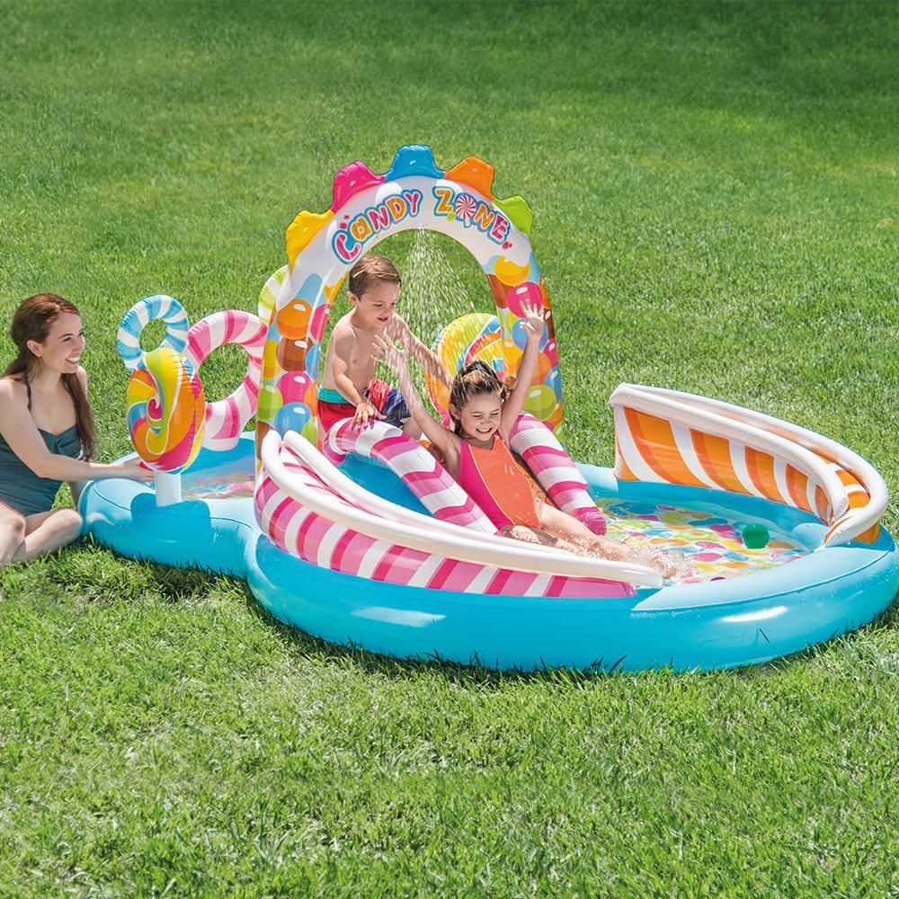 Intex 116 In X 75 In Rectangular 8 In Candy Zone Play Center Pool 57149ep The Home Depot Splash Pool Kiddie Pool Pool Activities