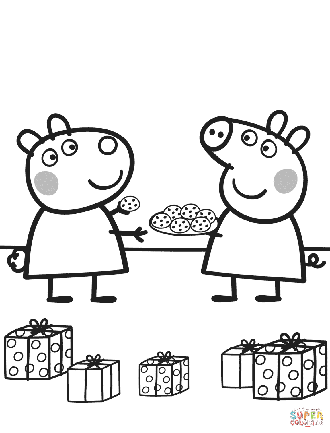 Peppa Gives Suzy Cookies Super Coloring Peppa Pig Coloring Pages Peppa Pig Colouring Peppa Pig Christmas