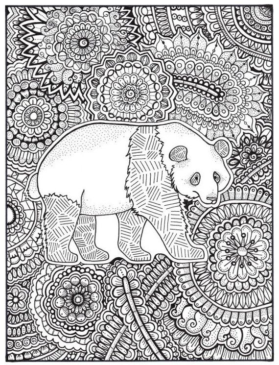 Panda Coloring Page Coloring Book Pages Printable Adult