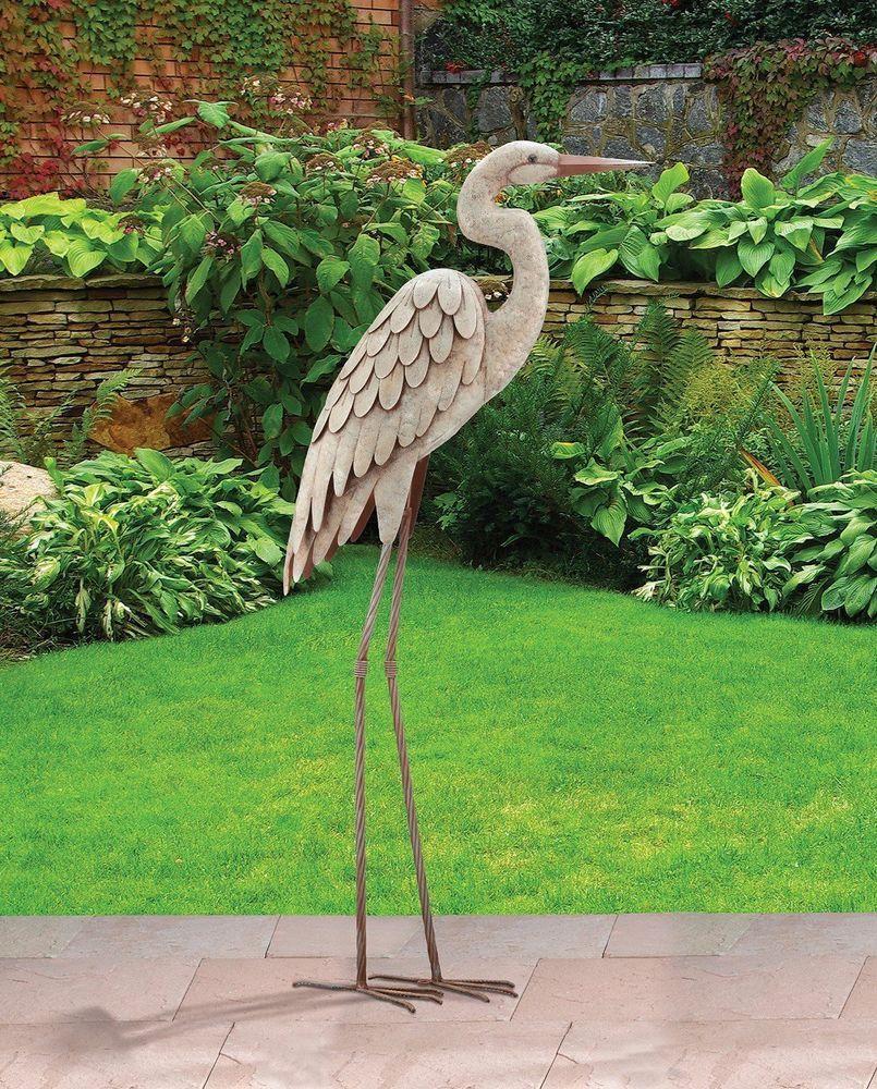 34 H Egret Bird Standing Statue Figurine Decor Garden Pool Yard Art Statue Bird Sculpture Outdoor Sculpture Metal Tree Wall Art