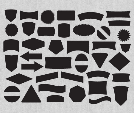 Free Label And Badge Vector Shapes - The Download includes 40 label