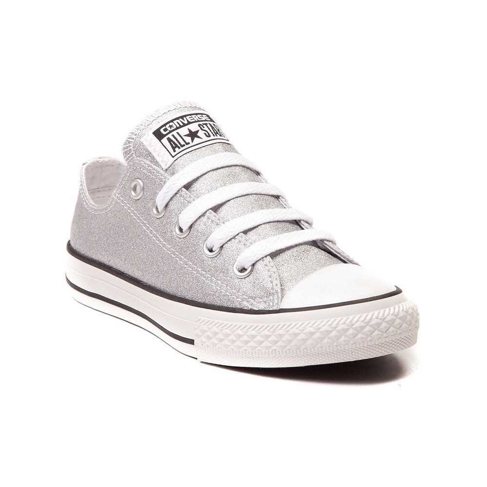 9f7df8361d2eb7 NEW Converse All Star Lo Glitter Sneaker Silver Girls Youth Tween Kids Shoes   Converse  CasualShoes