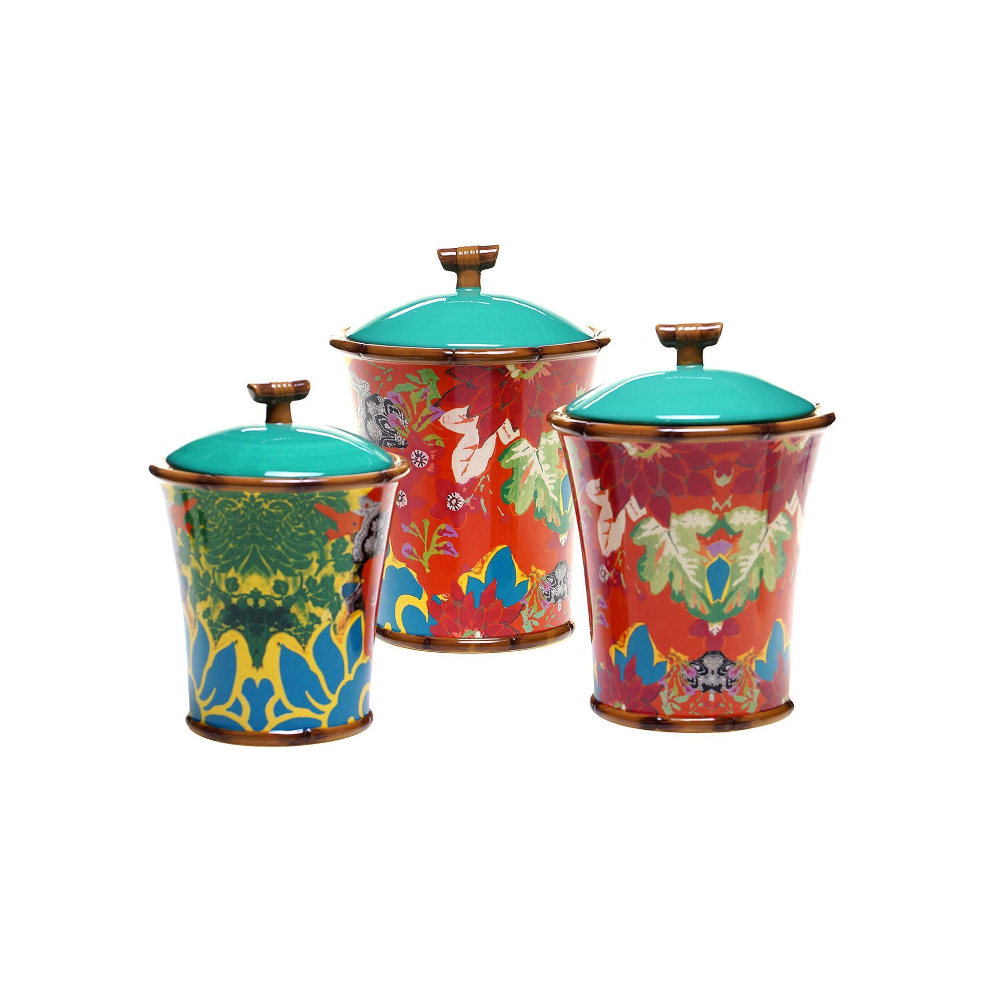 tracy porter magpie 3 pc ceramic canister set multicolor