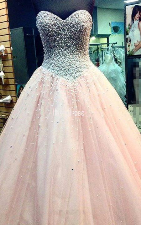 Pink Fabulous Ball Gown Sweetheart Tulle Floor Length Pearl Prom ...