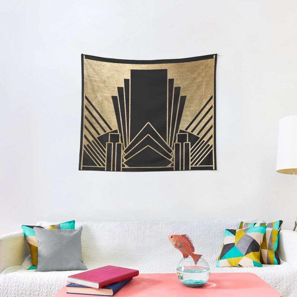 Art Deco Design Wall Tapestry In 2020 Art Deco Design Art Deco Tapestry