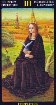 """Empress in the Bosch Tarot (To view deck review and additional sample images, just click on image.)  This is a deck with a """"different flavor."""""""