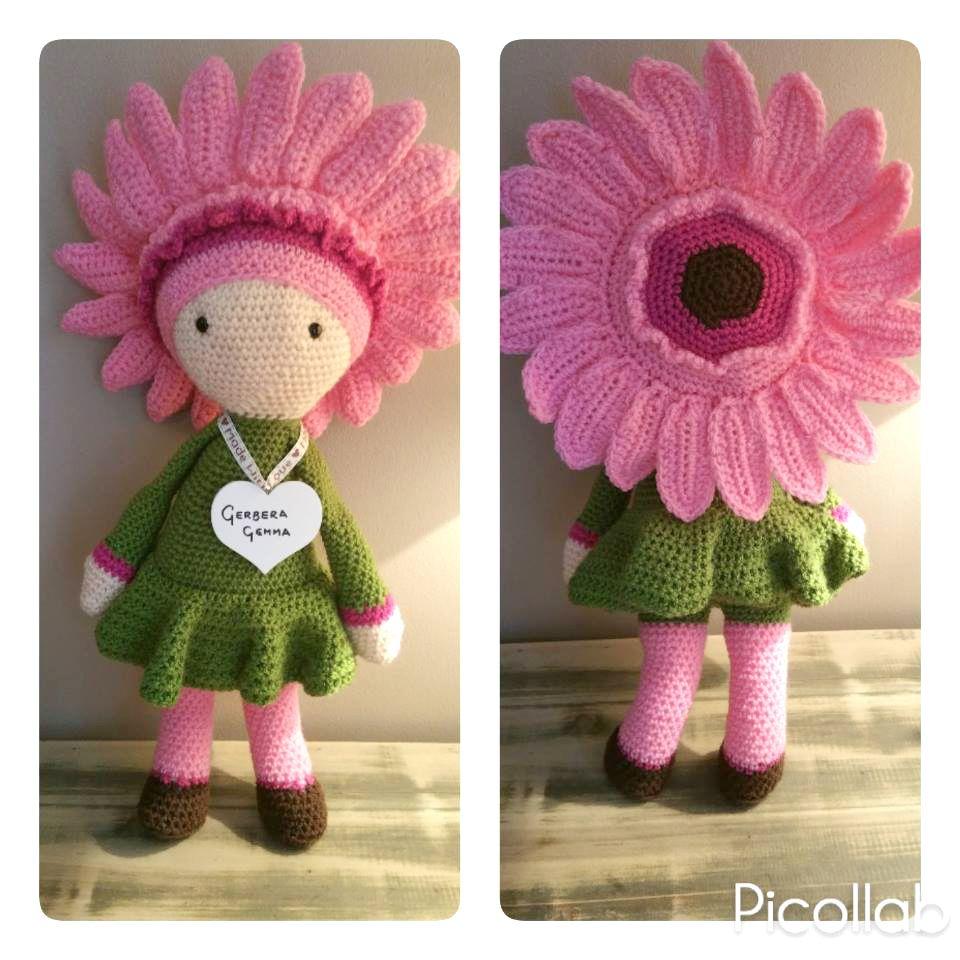 Gerbera Gemma flower doll made by Hayley H - crochet pattern by Zabbez