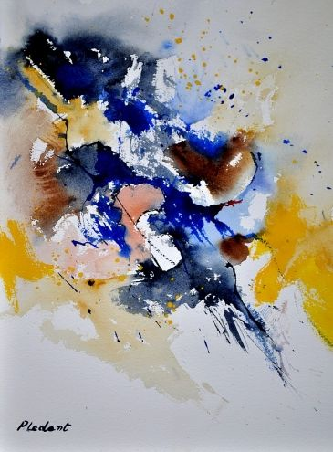 Watercolor Abstract 11160 Original Art Painting By Ledent Pol