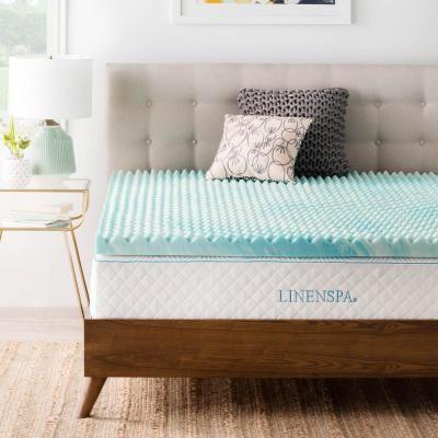 Linenspa 3 In Twin Gel Memory Foam Mattress Topper Blue Memory