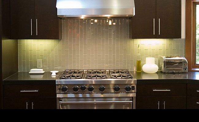 light brown glass subway tile backsplash veritically installed found at http