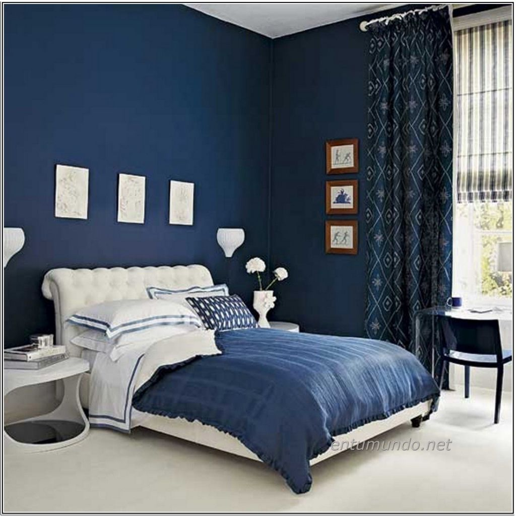 Dark Blue Bedroom Walls Inside Cozy Blue Colour Bedroom Idea With Dark Blue  Wall White Bed With