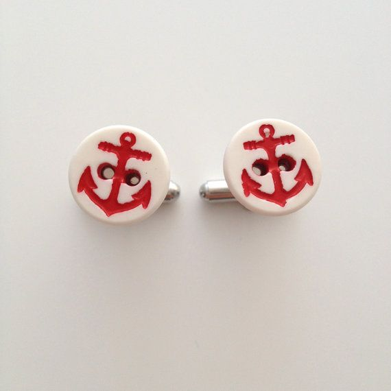 Red Anchor Cuff Links $20 by compassandcompany on Etsy