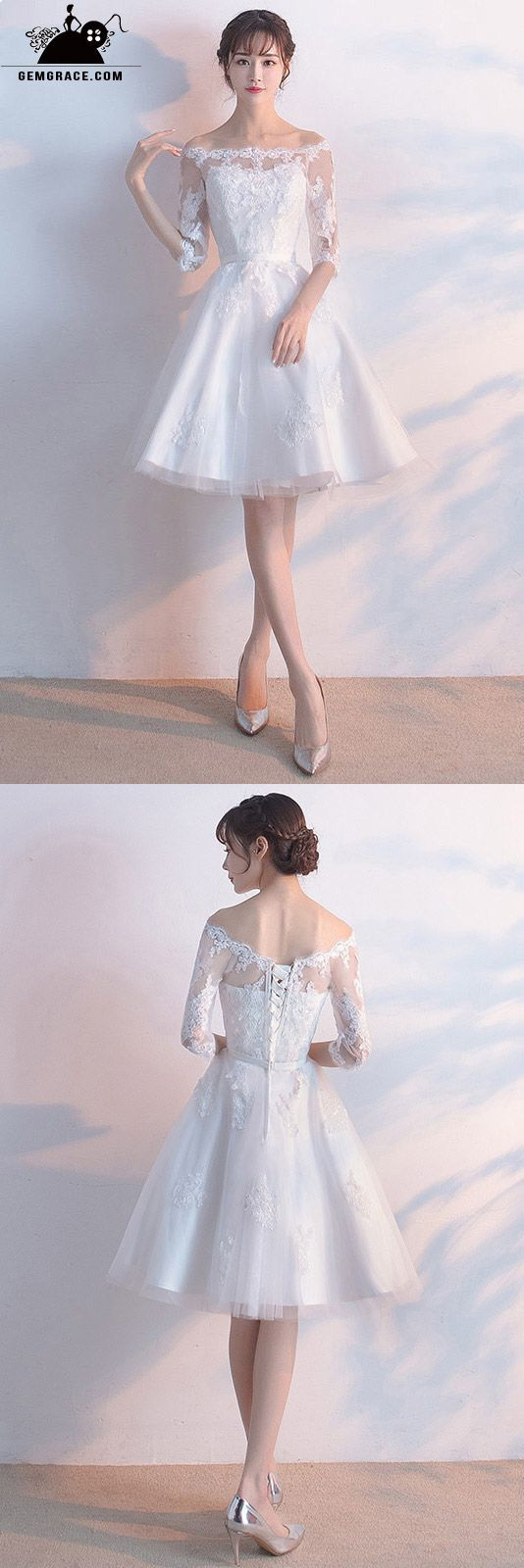 Short white lace sleeve off shoulder wedding party dress sweet