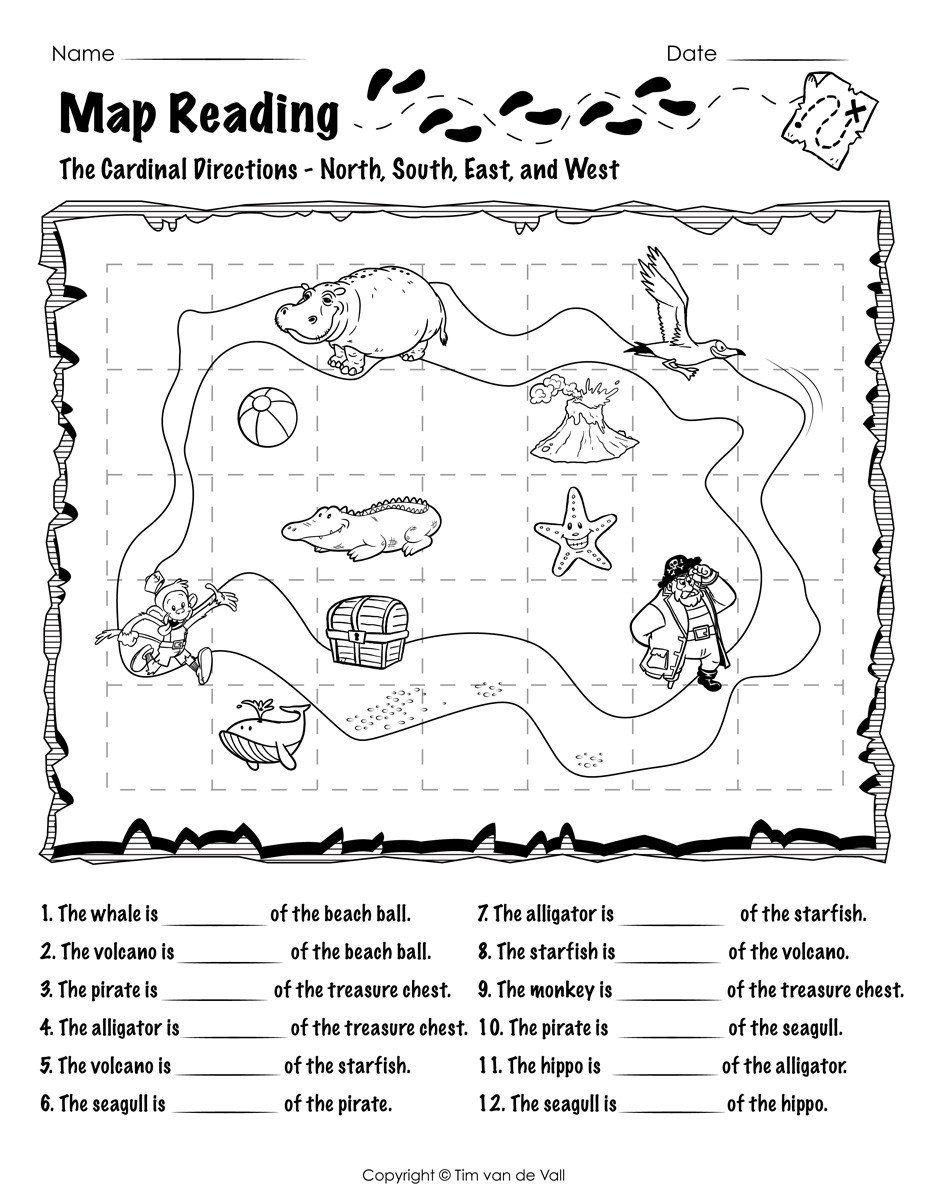 Map Worksheet For First Grade Map Reading Worksheet 01 Tim S Printables In 2020 Map Skills Worksheets Map Worksheets Map Skills