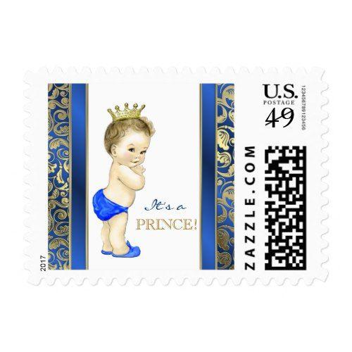 Royal Blue Prince Baby Shower Postage