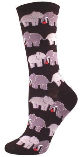 Socksmith Women's Socks Elephant Love Crew Black 1pair
