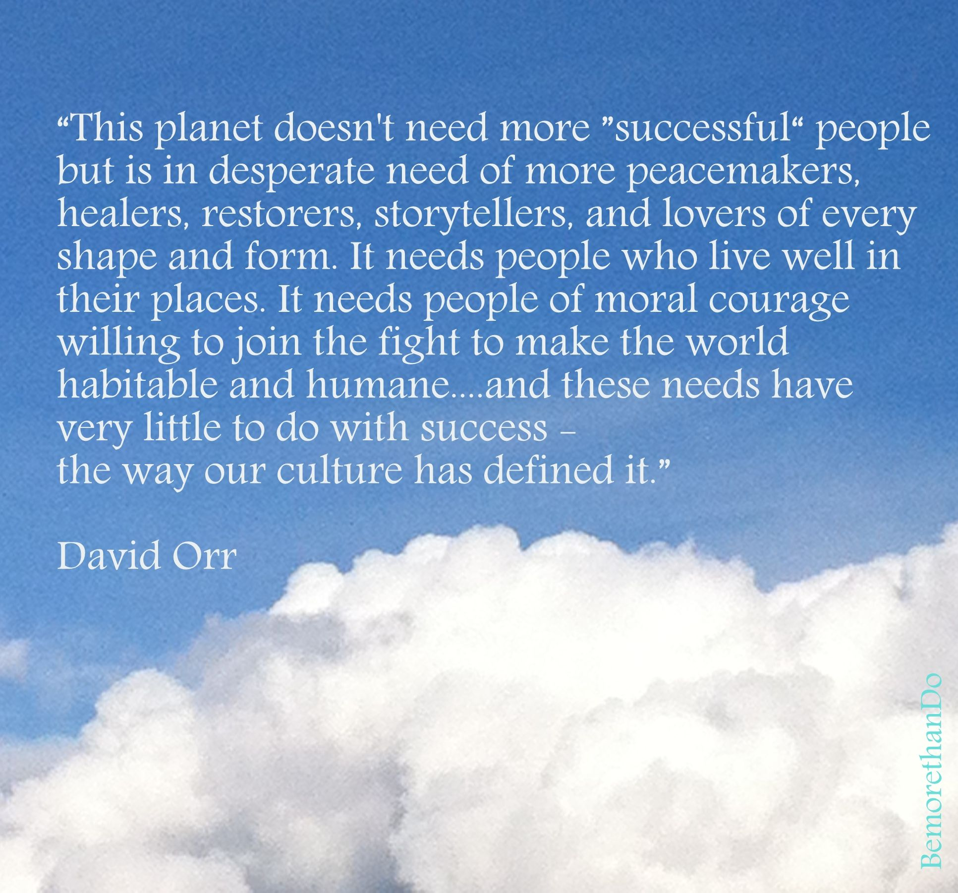 this planet doesn't need more 'successful' people...... David Orr
