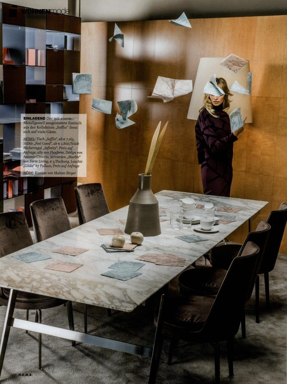 FLEXFORM SOFFIO dining #table designed by Antonio Citterio on H.O.M.E. Germany, october issue. Find out more on www.flexform.it