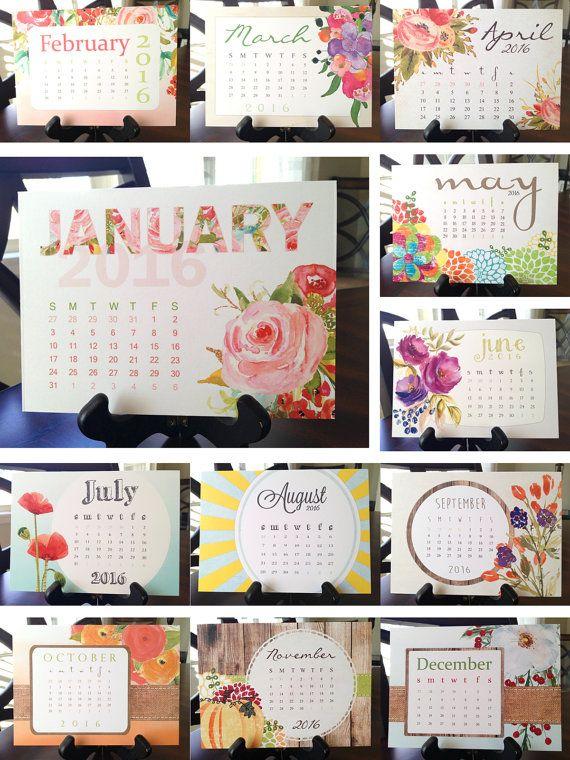Calendar 2019 Printable Floral Desk Calendar Watercolor Florals