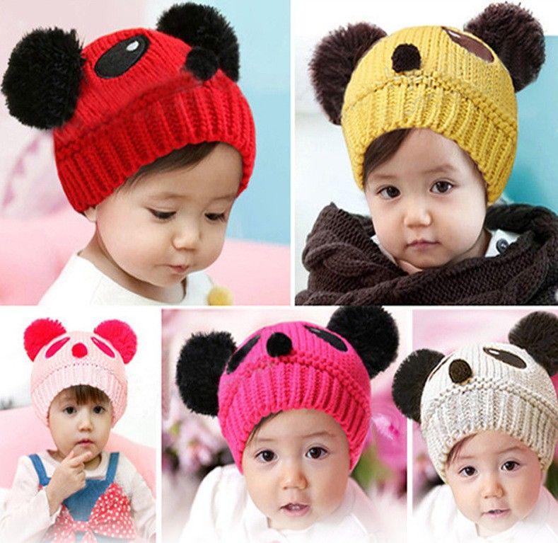 Cute Baby Girl Boy Winter Warm Knit Crochet Panda Hat ED