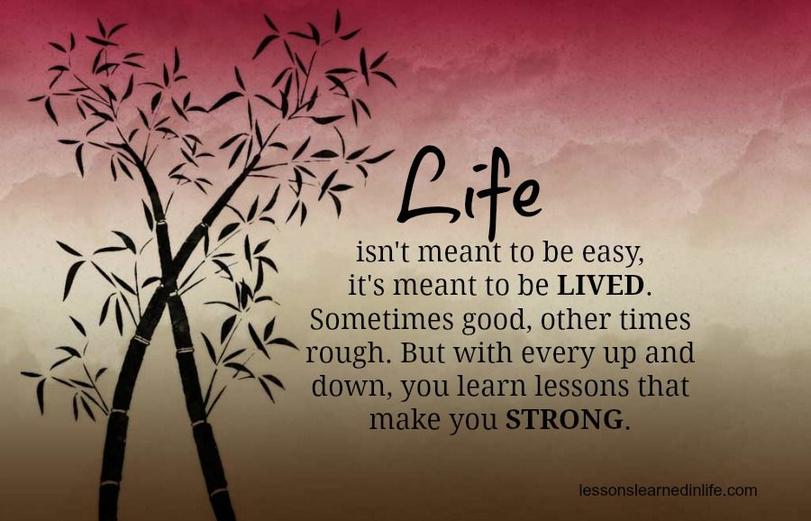 Life isn't meant to be easy, it's meant to be lived
