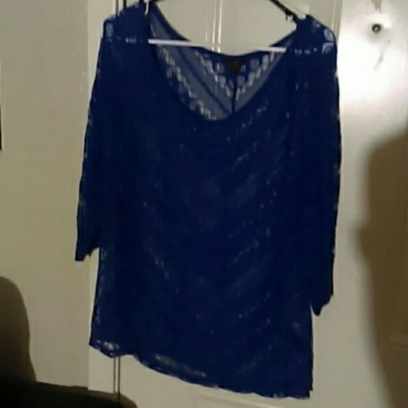 Guess lace blouse (NWOT! ) SHEER VIBRANT BLUE LACE BLOUSE Guess by Marciano Tops Blouses