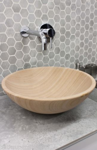 New Solid Stone Marble Round Bowl Counter Top Basin Vanity Modern Sandstone