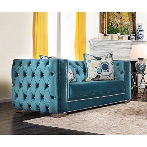 Furniture Of America Panth Tufted Velvet Loveseat In Turquoise
