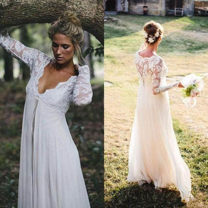2016 gorgeous empire waist lace chiffon wedding dresses for Long sleeve lace maternity wedding dress