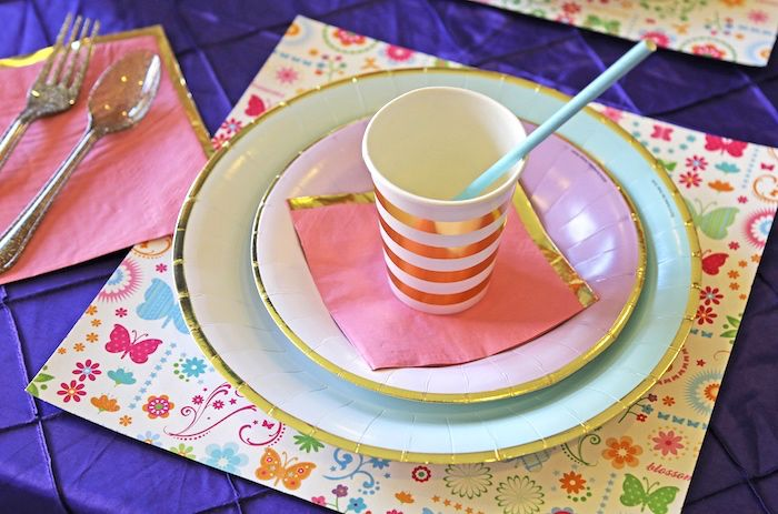 Place Setting From A Girl Is Blooming Spring Baby Shower