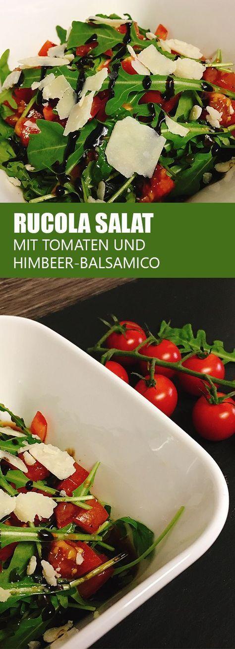 Rucola Salat mit Tomaten und Himbeer-Balsamico | Rezept