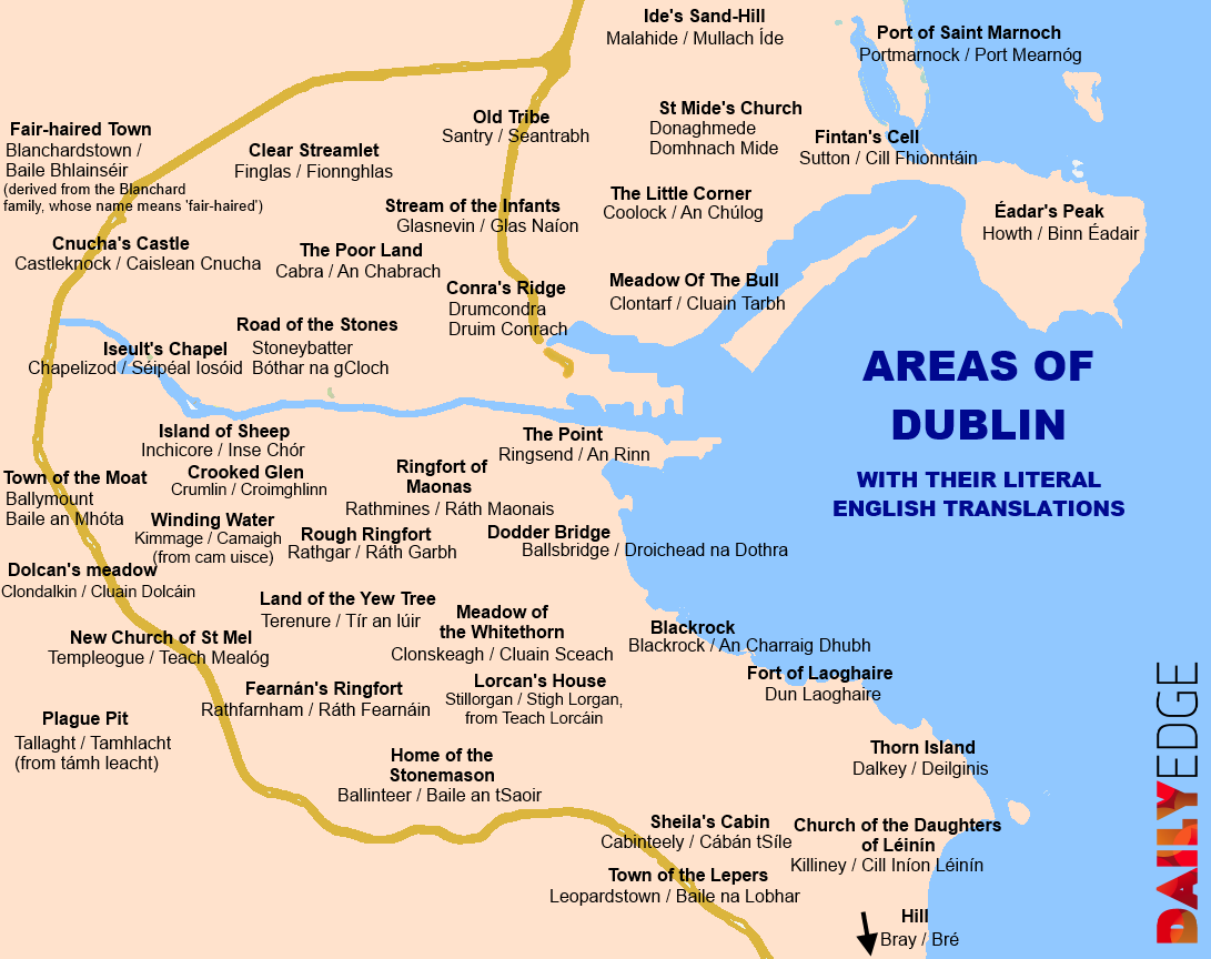 Map Of Dublin Ireland And Surrounding Area.Areas Of Dublin With Their Literal English Translations C O