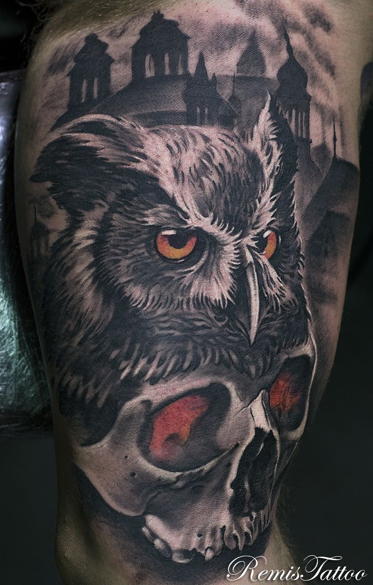 Black And Grey Skull And Owl Tattoo By Remis Remistattoo Realism
