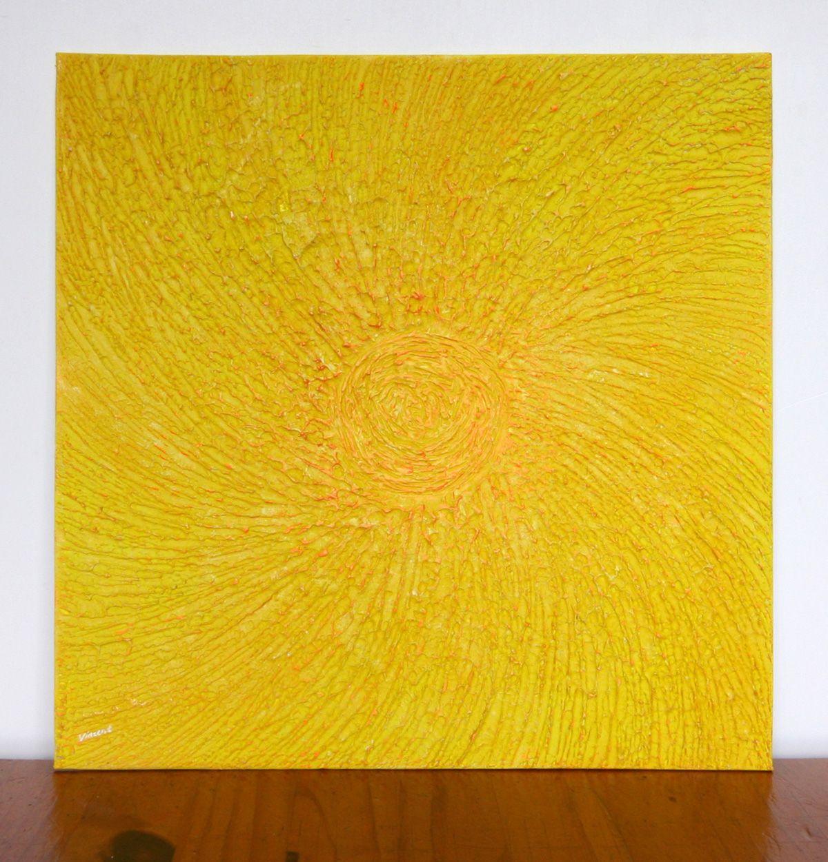Yellow Saffron Sun Textured Abstract Painting | Suns | Pinterest