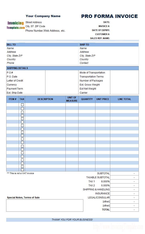 Proforma Invoice Format In Excel Invoice Template Invoice Format In Excel Invoice Template Word