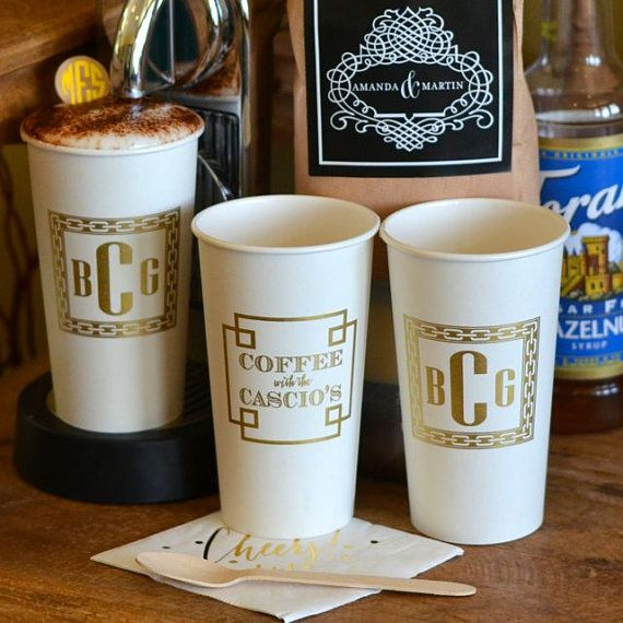 Monogrammed Paper Cups Personalized Coffee Custom Party Hostess Gift Bar Wedding Brunch