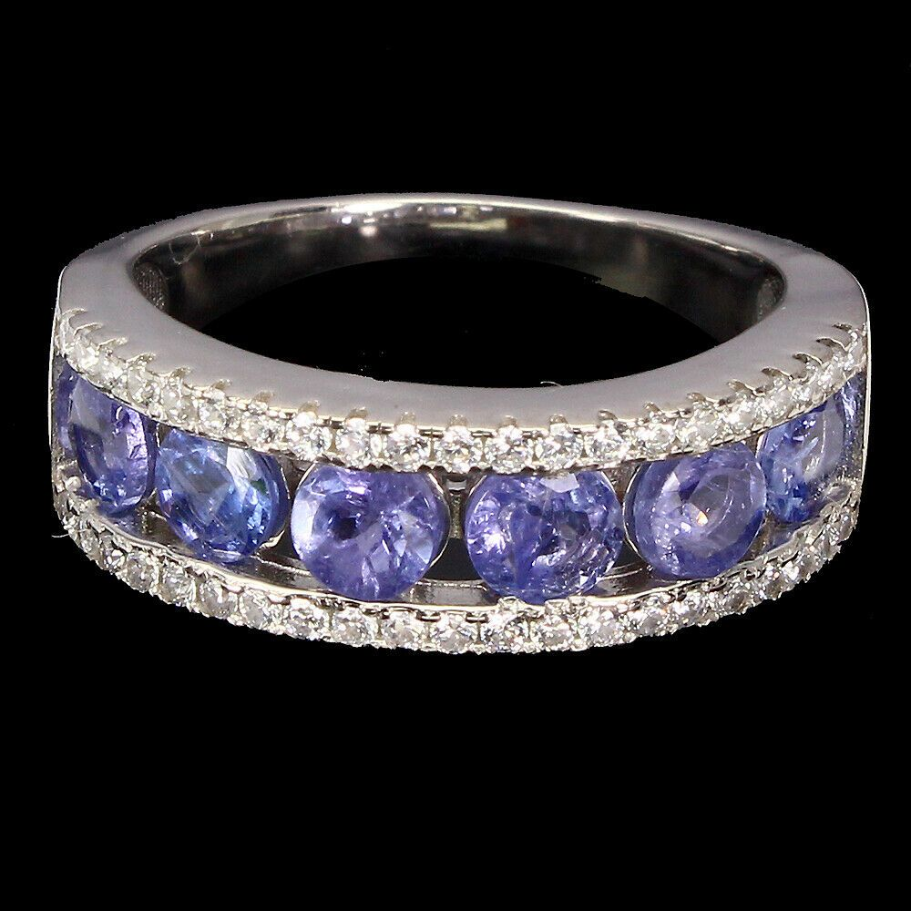 Unheated Round Blue Tanzanite 3mm White Gold Plate 925 Sterling Silver Earrings
