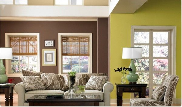 Wonderful Paint Color Choices For Kitchen And Family Room Combination | Brown Decor  Mixed With Green E1287160866686