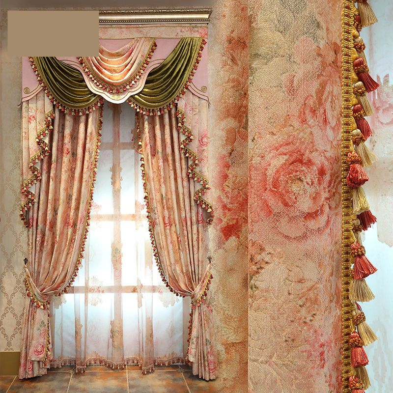 Curtains Luxury European Garden Jacquard Floral Living Room Curtain Tulle E133
