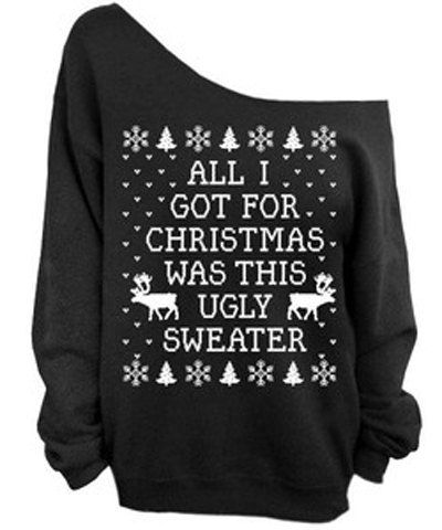 Printed Christmas Sweatshirt For Women Thick Sweater Outwear Tops on Luulla