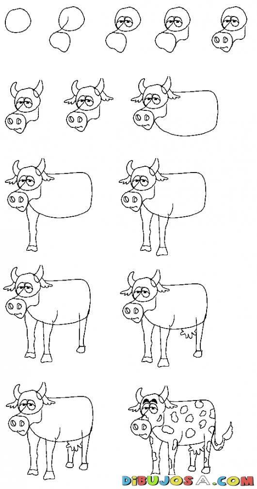 Como Aprender A Dibujar Una Vaquita Para Pintar Y Colorear Dibujo De ...
