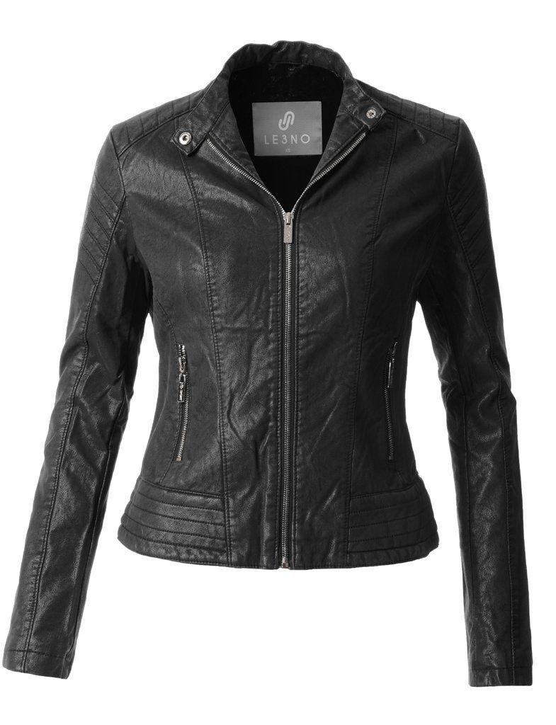 Sherpa Fur Lined Quilted Faux Leather Biker Moto Jacket Womens Sherpa Moto Jacket Jackets