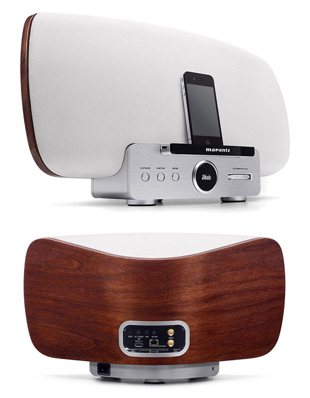 Marantz Consolette Speaker Dock. --  A sculptural shape rendered in metal and rich, grainy walnut wood makes this high-quality 150-watt speaker dock console look as good as it sounds. With built-in AirPlay & Android wireless streaming capabilities plus NetLink, Line-in, and a USB port, you can run pretty much any device you've got.  $1299