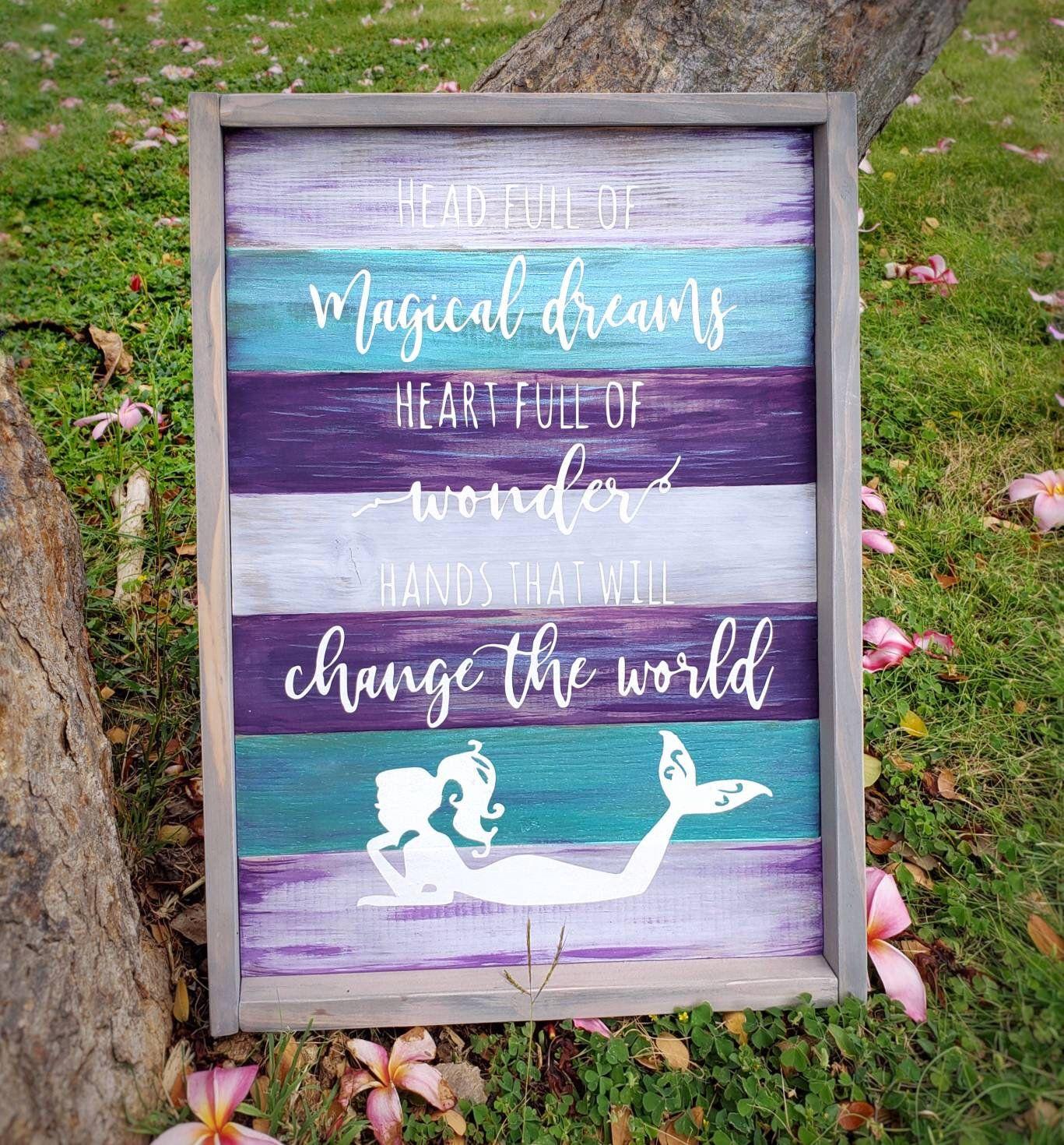 Mermaid sign, mermaid decor, mermaid nursery, beach decor, wood sign,  mermaid art, beach art,  girls room decor, signs with quotes #mermaidsign