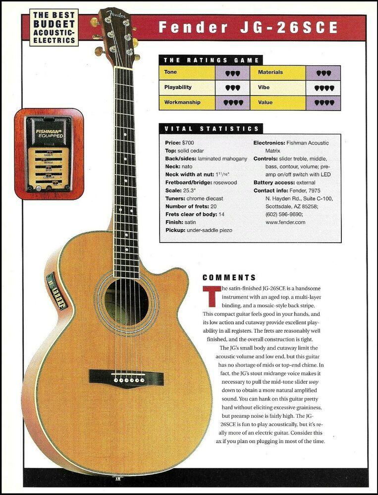 Fender Jg 26sce Epiphone Aj 18sce Acoustic Electric Guitar Review Article Fender Guitar Reviews Acoustic Electric Guitar Books