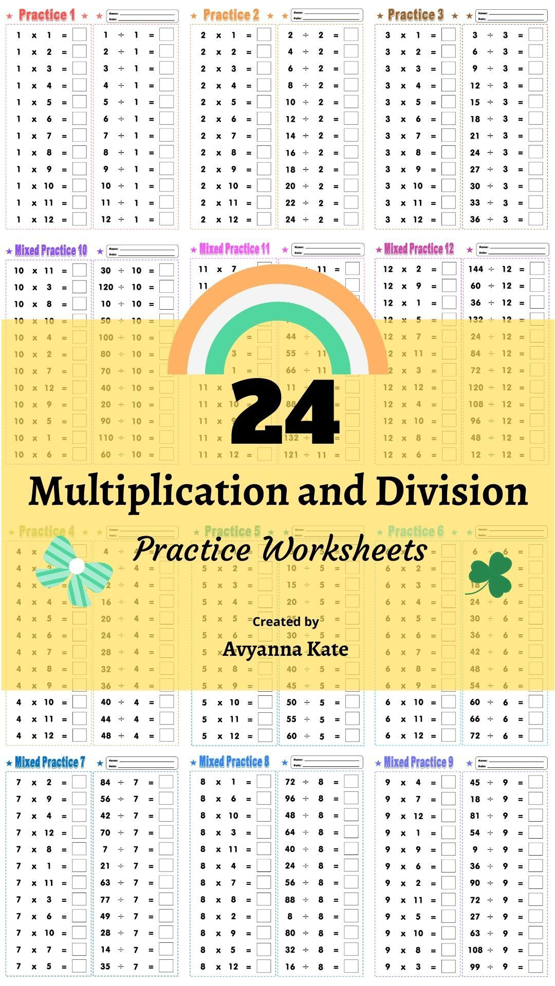 Free 24 Multiplication And Division Practice Worksheets Multiplication And Division Free Math Worksheets Free Math [ 1920 x 1080 Pixel ]