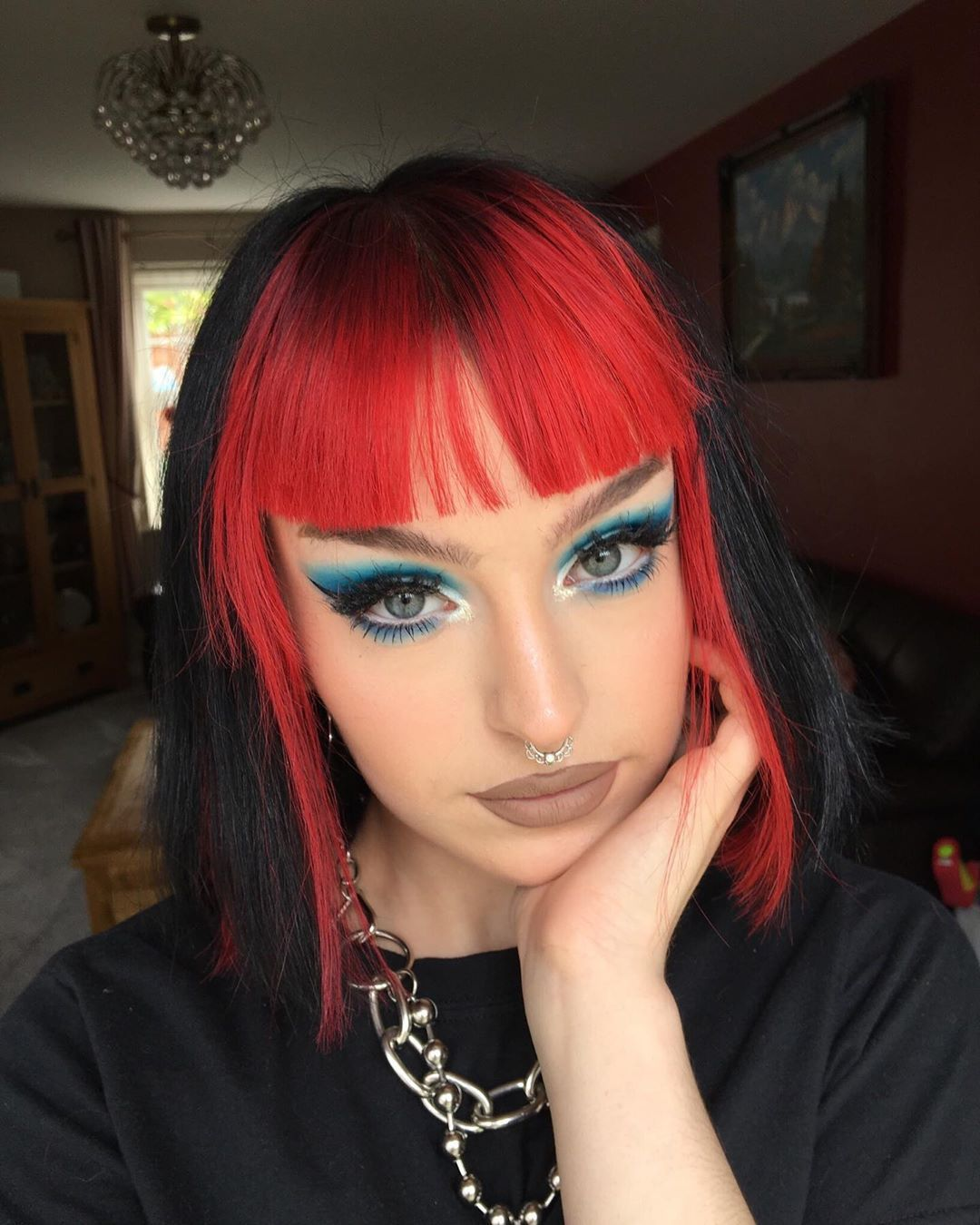 Two Toned In 2020 Split Dyed Hair Hair Color For Black Hair Black Red Hair