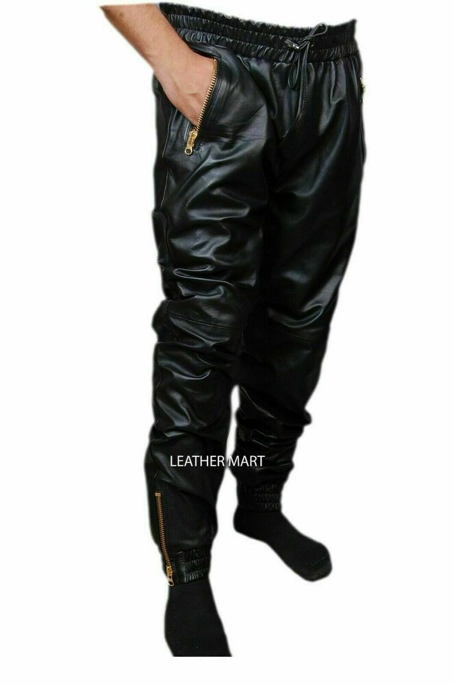 New Men's Pant Black Leather Pant Running and jogging Leather Pant  #Unbranded #Fitness